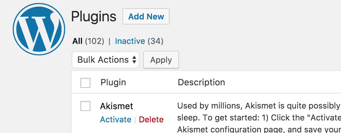 Geïnstalleerde WordPress plugins