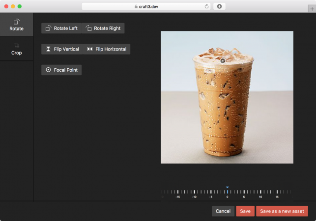 Image editor in Craft CMS 3