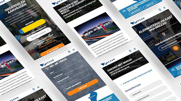 Website, UX UI voor Brezan Automaterialen