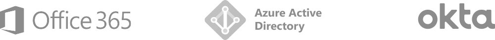 Logo small: Office 365, Azure Active Directory, Okta