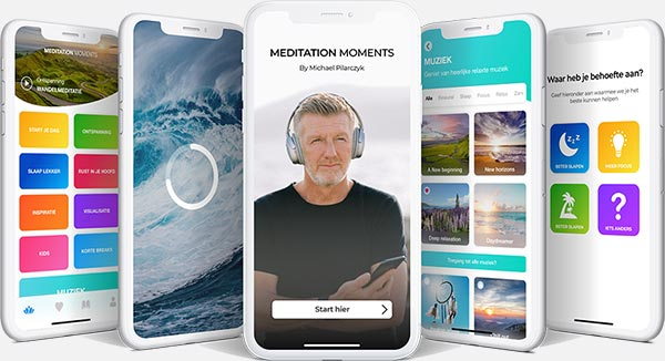 Mockup van de app Meditation Moments